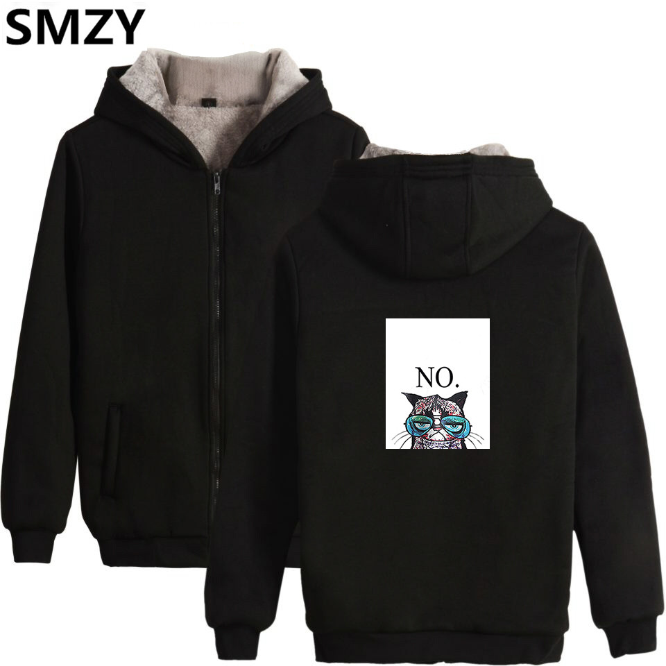 SMZY Cartoon Cat Zipper Hoodie Sweatshirt Women Thickening Winter Anime Cat Hoodies Women Cotton Fashion Kawaii Animal Clother