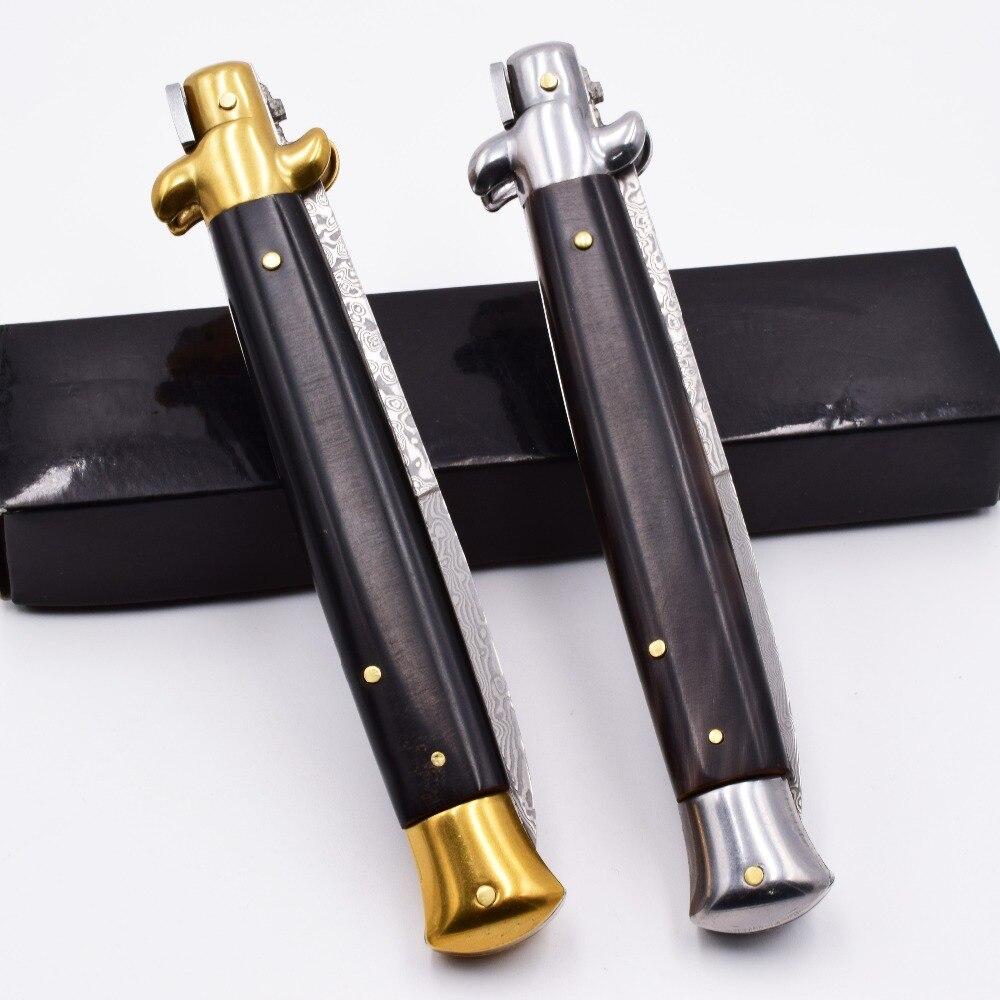 "Купить с кэшбэком Italian 11"" Mafia Folding knife Damascus Blade Ox Horn Handle Tactical Pocket Knives Army Camping Survival Quickly Open EDC Tool"