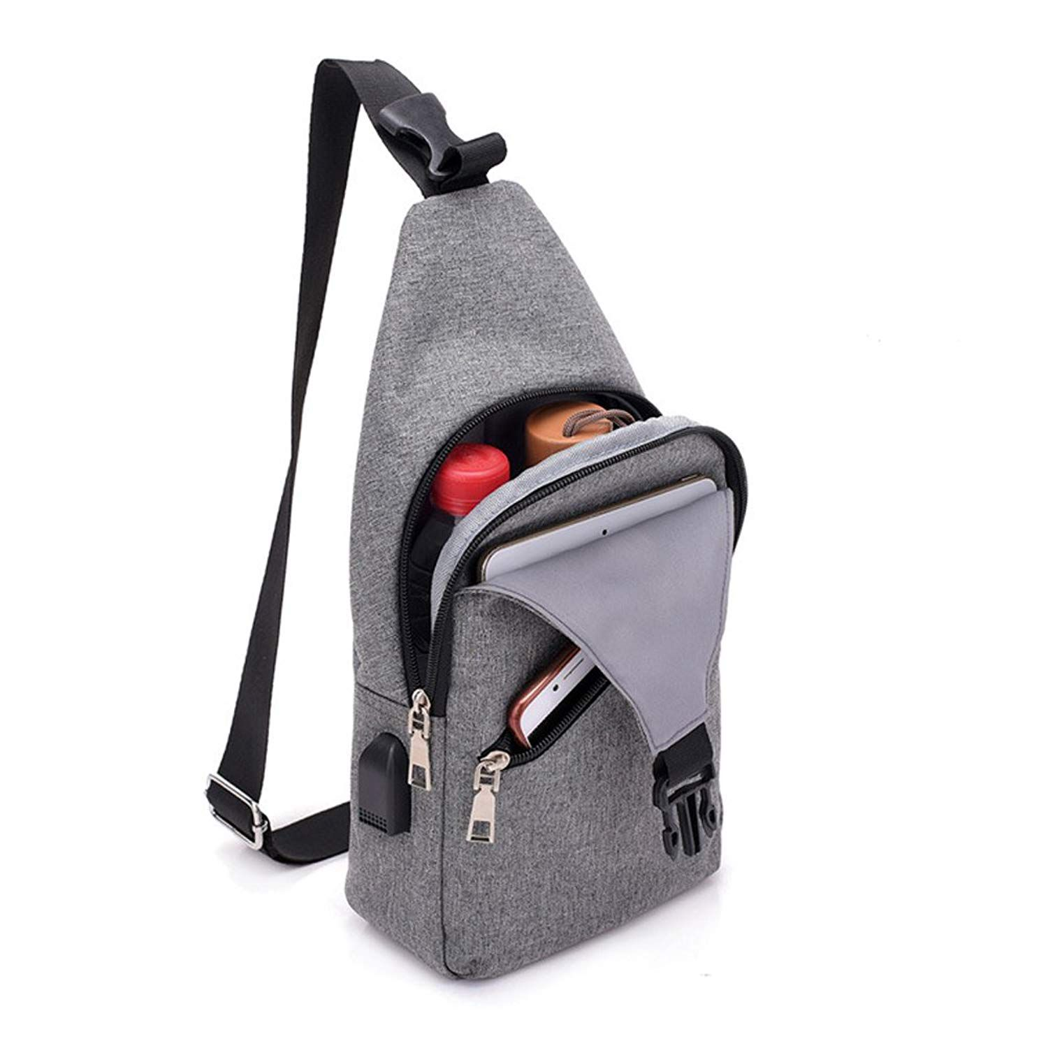 Sling Bag with USB Charging Port   Headphone Hole Smart Crossbody Bag  College School Chest Casual Daypack Travel Shoulder-in Top-Handle Bags from  Luggage ... 54acae52b70b6