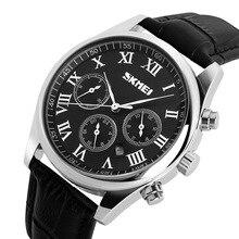 2016 Hombres Relojes de Pulsera banda de cuero superior de lujo SKMEI Hombres Deportes Relojes de Cuarzo de Negocios reloj de Cuarzo Ocasional Reloj Semana
