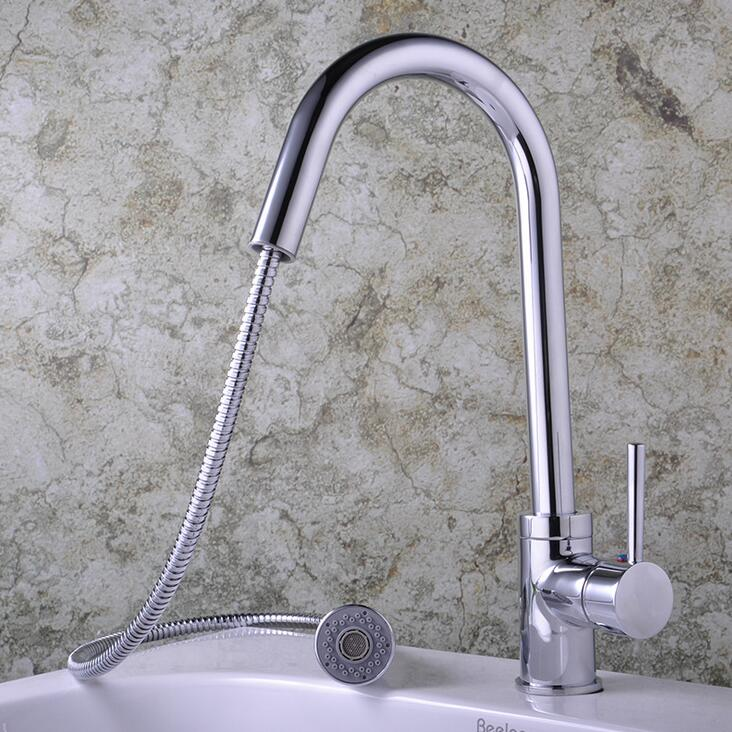 Brass stretched dish basin faucet chrome Rotated kitchen sink basin faucet pull down Kitchen faucet mixer