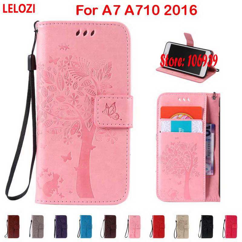 LELOZI Tree Flower Cat Butterfly PU Leather Leathe Wallet Case For Samsung Galaxy A7 A710 2016 A 7 A710F New Best Pink Brown