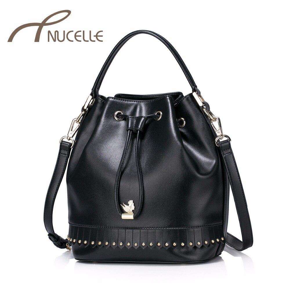 NUCELLE Women PU Leather Handbags Ladies Fashion Brief Bucket Messenger Tote Purse Female Rivet Tassel Shoulder Bags NZ5950