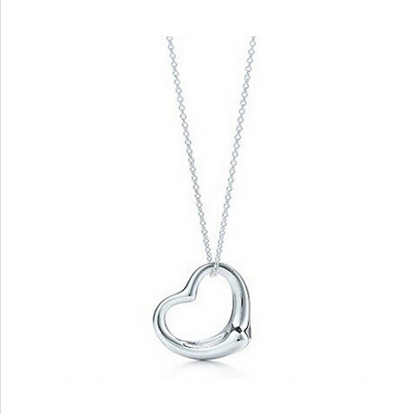 Popular High-End Silver Plated Peach Heart Pendant Necklace Best Friends Heart Gift