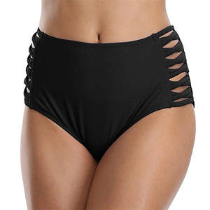 Female Black High Waist Bikini Swimwear Solid Brazilian Bottoms Swim Briefs