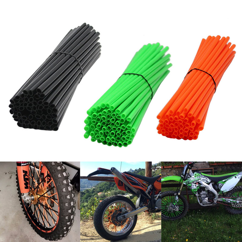 Hot 72 Pcs/Set Bikes Spoke Fluorescence Tube Clip Bicycle Wheel <font><b>Rim</b></font> Steel Wire Cover Motorcycle Spokes Warning Accessories BX image
