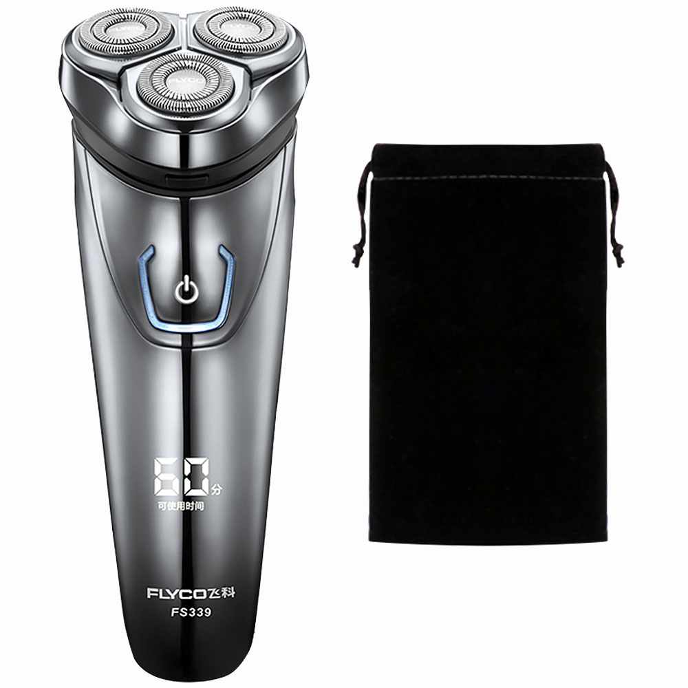 Flyco IPX7 Waterproof 1 Hour Rechargeable Rotary Razor Electric Shaver Beard Razor For Men Barbeador FS339-A Bag flyco fs719 wet dry twin shaving machine for men beard razor barbeador eletrico masculino man must haves barbeador