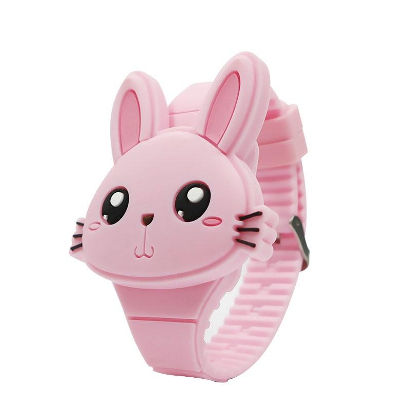 1 Pcs Kids LED Electronic Watch Silicone Band Cartoon Rabbit Flip Case Wrist Watch Lovely Gift FDC99