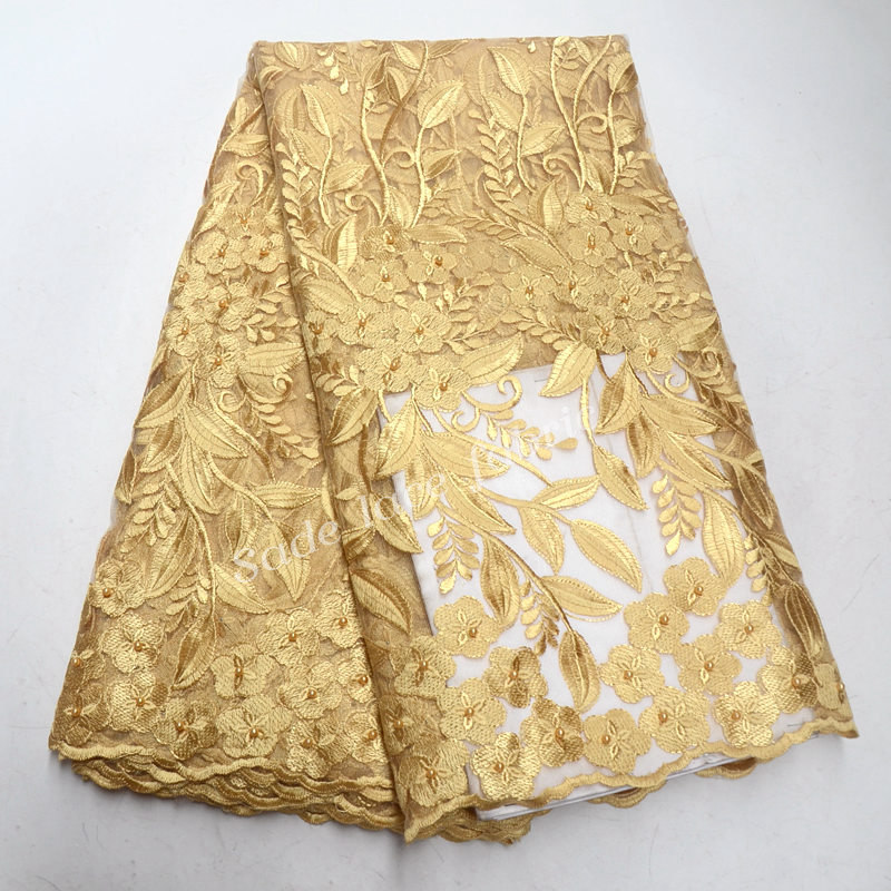 French Lace Fabric With Beaded Gold French Fabric Cheap African Lace French Lace Leaf Fabric IG997
