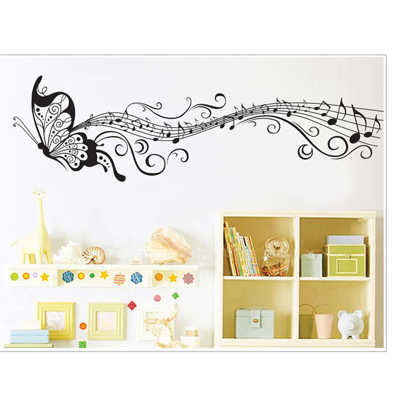 Butterfly&Music Note Newest Wall Sticker Decal <font><b>Simple</b></font> Wallpaper Mural Removable Living Room <font><b>Home</b></font> <font><b>Decor</b></font>