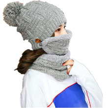 New 3 Pieces Set Women Winter Hat Scarf Fashion Cotton Female Casual Solid Color Mask Suit