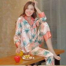 607581b9a09d Новый шаблон спиннинг реального шелковые пижамы с длинными рукавами на весну  брюки домой спать комплект с длинным рукавом осень .