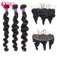Peruvian Loose Deep Wave 3 Bundles With Frontal Human Hair Bundles With Lace Frontal Closure Remy Hair Extensions Dreaming Queen