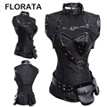 FLORATA Sexy Women Goth Brocade Steampunk Overbust Corset with Jacket and Belt