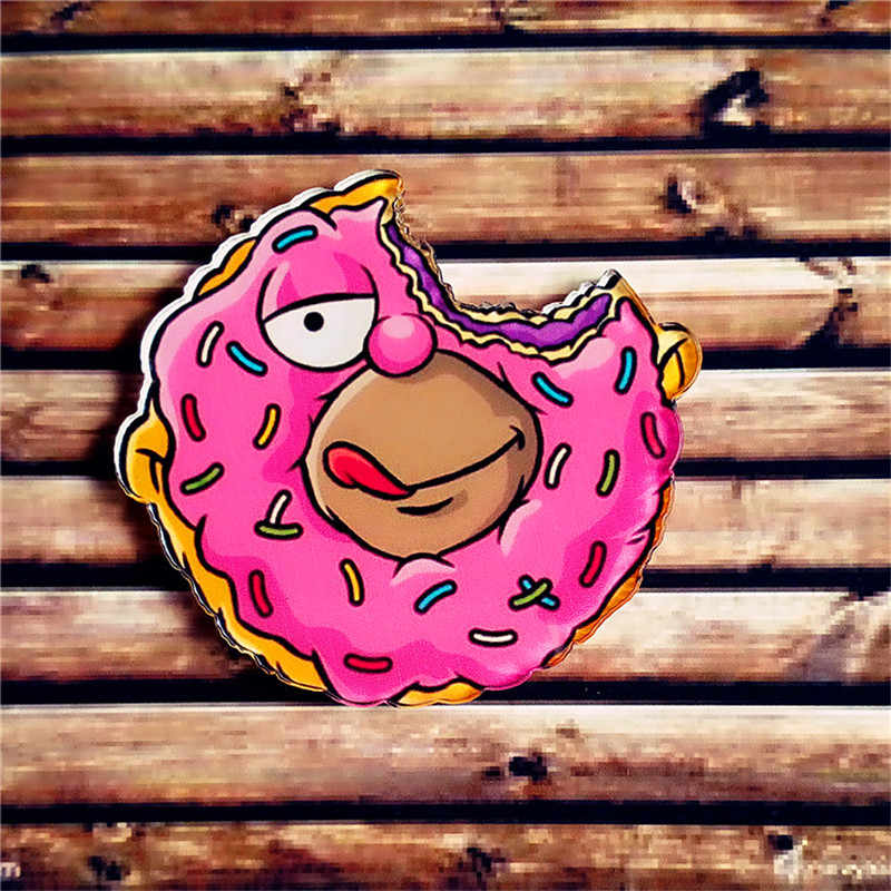 Lucu Makanan Cepat Saji Bros Donat Kartun Lencana Brocade Makanan Penutup Ikon Bahasa Perancis Goreng Burger Kopi Akrilik Lencana Pakaian Kerah Pin