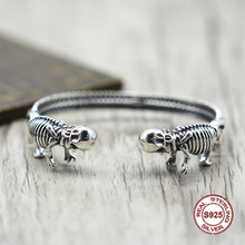 ФОТО s925 men's bracelet in sterling silver personality retro hip hop skeleton opening classic simple punk style send a gift to love