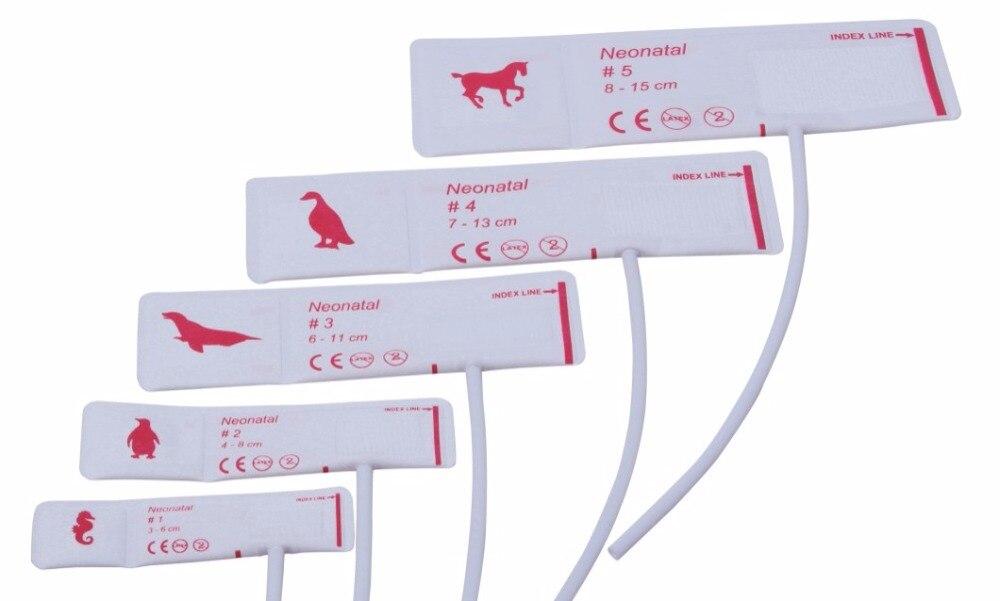 Бесплатная доставка, 5 размеров, 5 шт., ветеринарные манжеты для измерения артериального давления, одноразовые манжеты для измерения артериа...