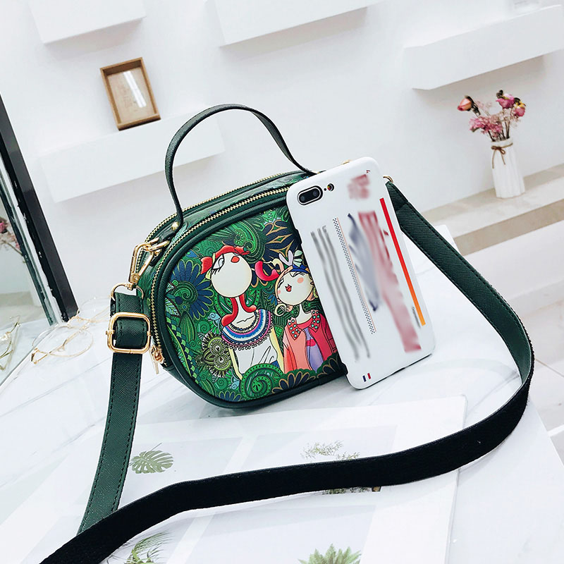 Highly Recommended Forest Series Cartoon Printing Pattern Women 39 s Shoulder Bag High Quality Green Girl PU Elliptical Handbag in Shoulder Bags from Luggage amp Bags