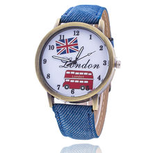 Dropshipping Fashion Union Flag London Bus Watch Fashion Casual Women Wristwatches Luxury Jeans Watches Relogio Feminino(China)