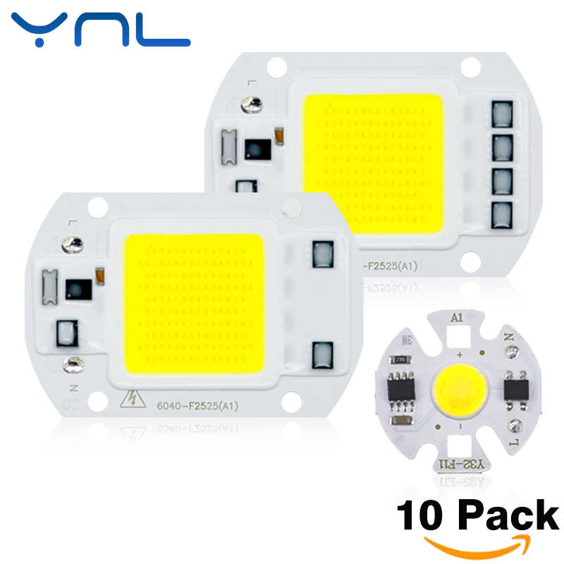 10pcs COB LED Lamp Chip 20W 30W 50W 220V 110V Cold Warm White Input Smart IC Driver Fit For DIY LED Floodlight Spotlight