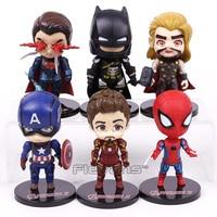 DC COMICS Marvel Super Heroes Superman Batman Iron Man Thor Homem Aranha Capitão América PVC Figuras Brinquedos 6 pçs/set 10 cm