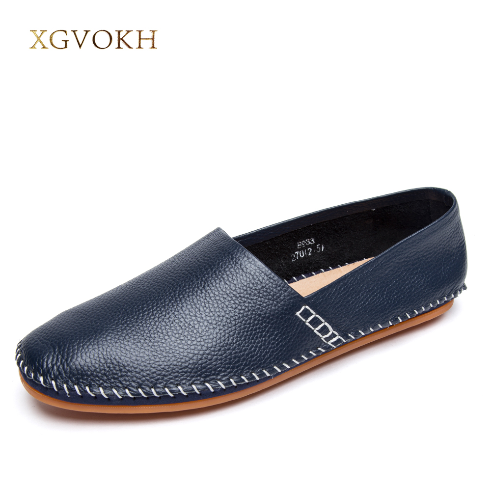 XGVOKH Brand Causal Shoes Men Loafers Genuine Leather Moccasins Men Driving Shoes High Quality Flats for Man
