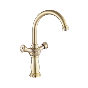 Gold Color Brass Material Deck Mounted Cold & Hot Water of 3 Size Dual Handle Basin Tap