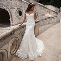 Mermaid Wedding Dresses 2017 with Lace Applique Sheer Back Vestidos De Novia Robe De Mariage White Ivory