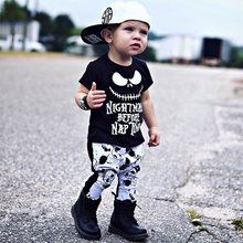 Infant Baby Boys Clothes Set Skull Halloween New Nightmare Before Nap Tops T-shirt+Print Pants 2 Pieces Baby Clothing Outfit(China)