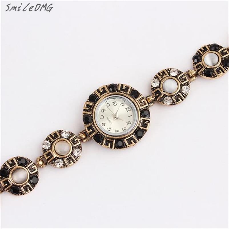 SmileOMG Hot Womens Fashion Womens Minimalism Rhinestone Golden Stainless Steel Wrist Watch Free Shipping,Sep 22