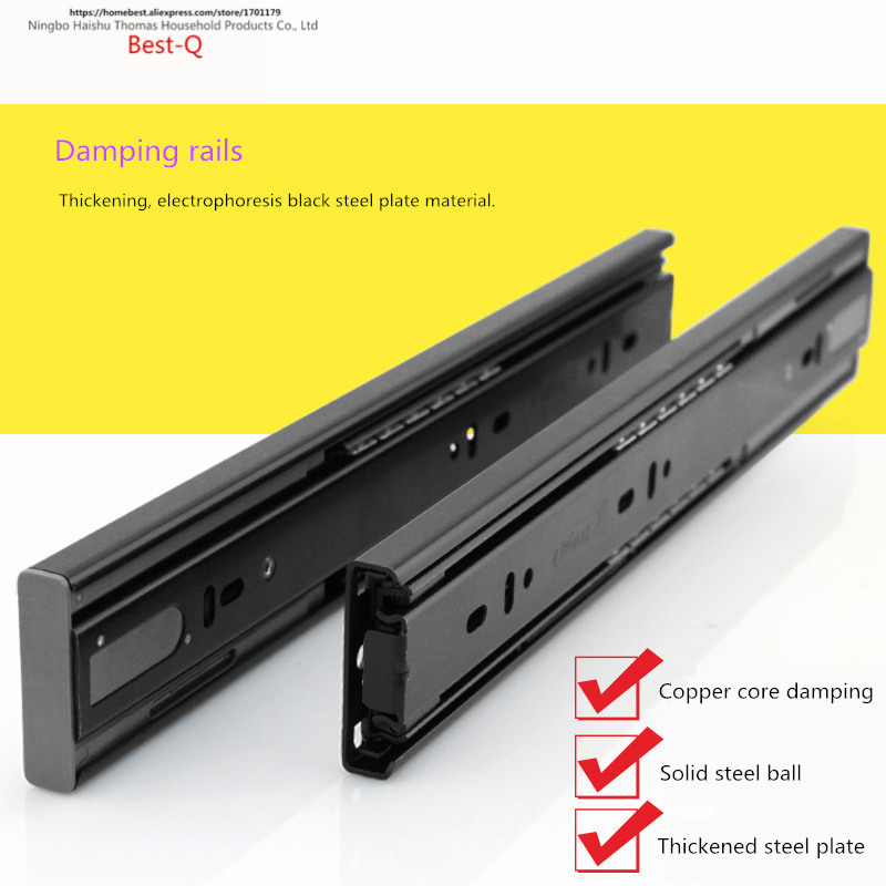 Free shipping track, damping three rail track, furniture slideway, seventy percent off guide rail, steel ball slide rail drawer drawer slide rail track three mute hydraulic damping buffer t