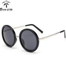DRESSUUP New Retro Round Sunglasses Women Brand Designer Vin