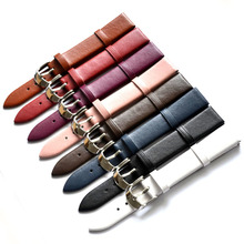 1PCS 12MM 14MM 16MM 18MM 20MM 22MM smooth grain genuine leather (cow split) watches band watch strap men and women цены