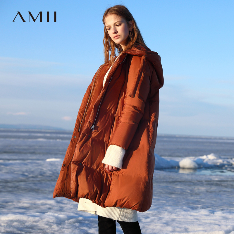 Amii Winter Women Korean Down Jacket Female Solid Thick Zipper Hooded Long Coat 11840274