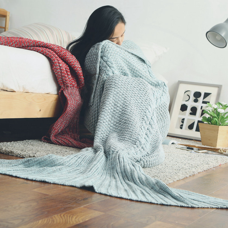 Fashion Mermaid Blanket Of Knitting Imitation Cashmere Mermaid Tail Autumn Winter blanket sofa mat Warm Soft Gifts For Girls