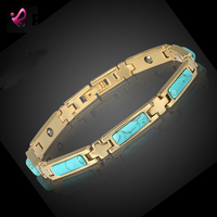 RainSo Fashion Opal Blue Turquoise Lover S Bracelet With Magnet 18K Gold Plating Health Care Bracelet