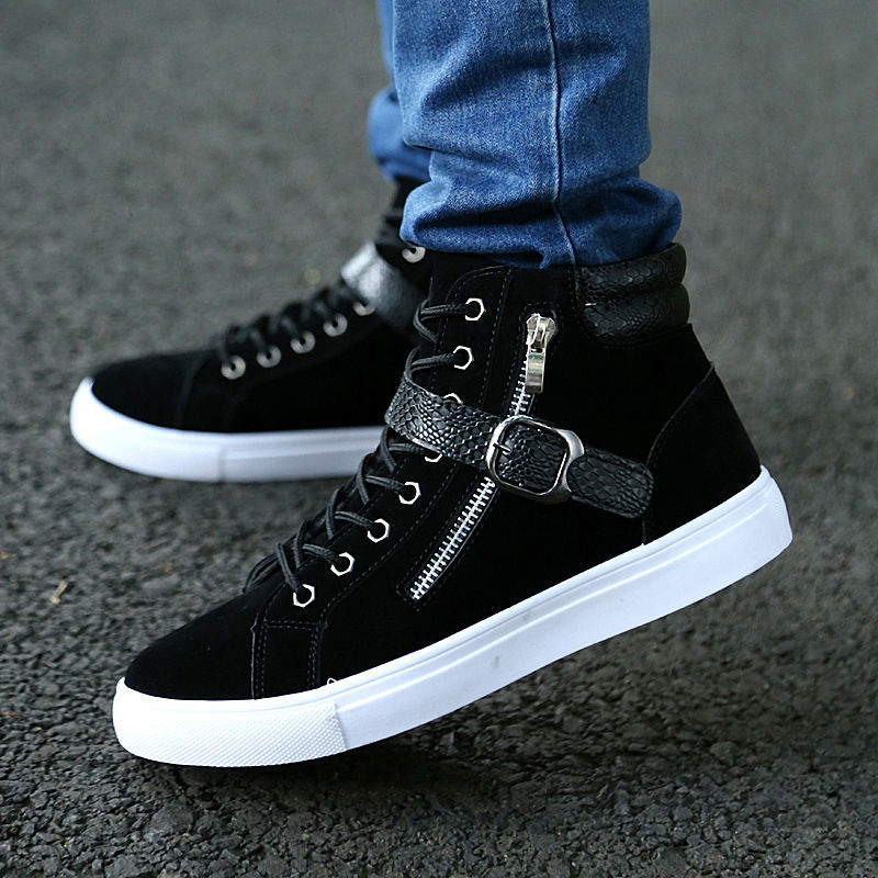 2019 Spring Autumn Big Size Mens Waterproof Casual Shoes Men Lace-Up Snakeskin Buckle Zipper Ankle Boots Man High Top Flat Shoes