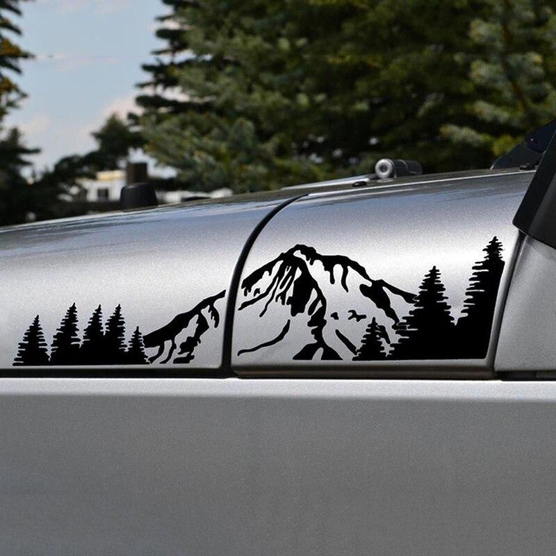 2x Montagne Forêt Gauche Droite Vinyle Autocollant Decal Mode Drôle Beauté Corps De Voiture Autocollants Stickers