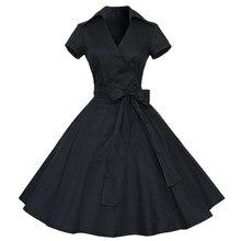 f64e6d29f53 Kenancy Elegant Style Audrey Hepburn 1960s Black Vintage Dress Plus Size  Summer Women Retro Dress Party Vestidos Cotton Dress