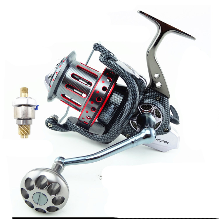 цена на Large Metal Spoon 8000-12000 Series Spinning Fishing Reel 10+1 Ball Bearings Casting Fishing Wheel for Sea Fishing ice Fishing