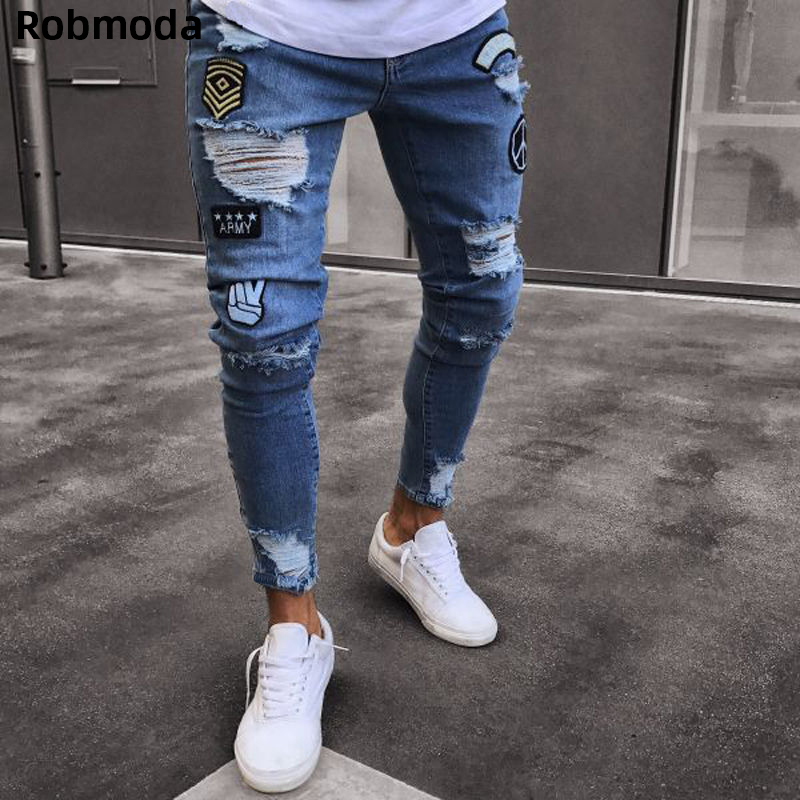 Hole embroidered patch   jeans   Slim men fashion trousers NEW 2019 men's Casual Thin Summer Denim Pants Classic Cowboys Young Man