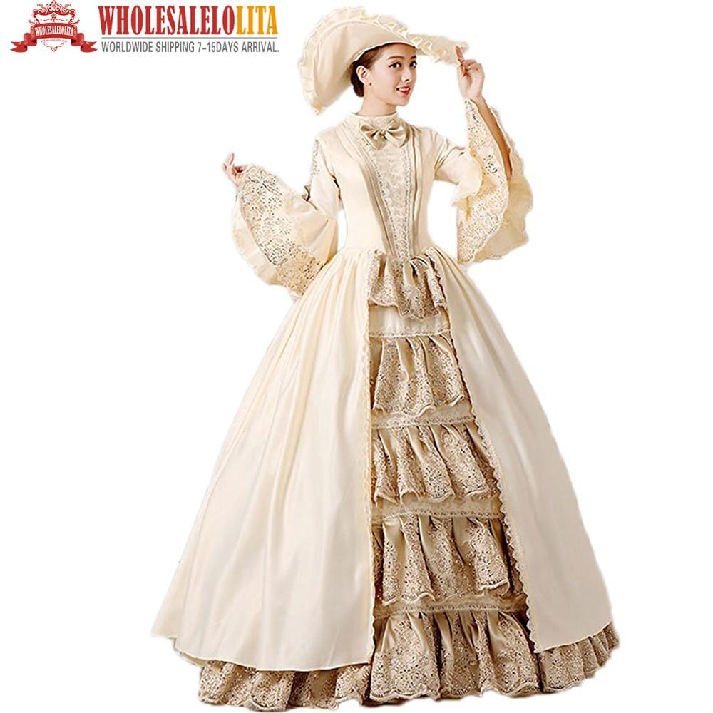 Gehoorzaam Hot! Global Freeshipping 18e Eeuw Renaissance Middeleeuwse Marie Antoinette Rococo Prom Gown Belle Gown Kostuum Voor Party Snelle Kleur