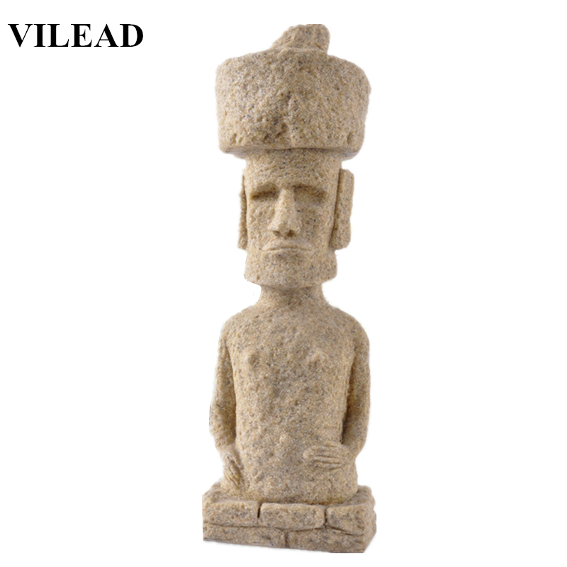 VILEAD 11'' Sandstone Easter Island Moai Pukao Statue Easter Day Figurines Home Decoration Accessories Event & Party Supplies