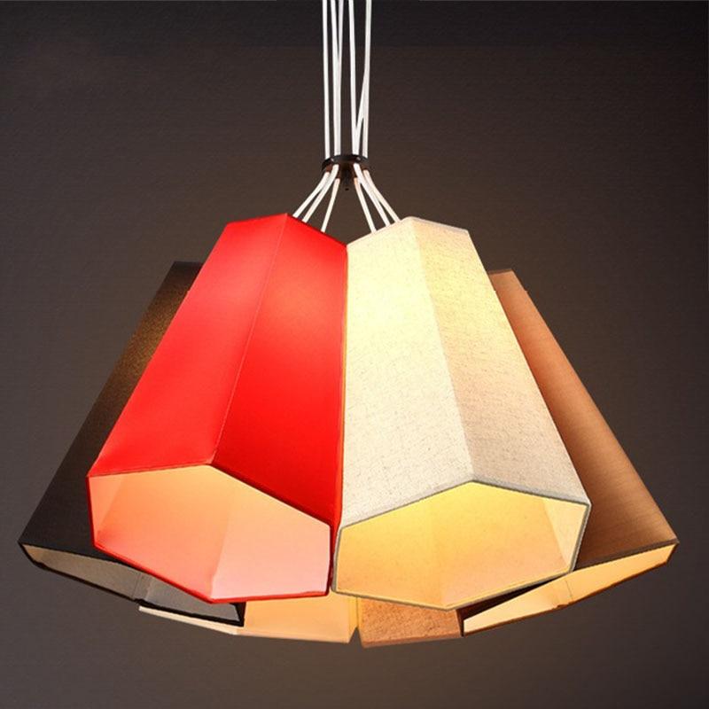 Nordic modern compact pendant lights heads creative personality bedroom lamp American study balcony fabric pendant lamp ZA bamboo bedroom pendant lights balcony