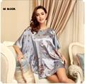 Moda Maternidade De Seda Roupão Roupão de banho das Mulheres Faux Silk Robes Sono desgaste Longue Femme Para As Mulheres Desgaste Da Noite Crescer Da Senhora do Sexo Feminino Pijamas