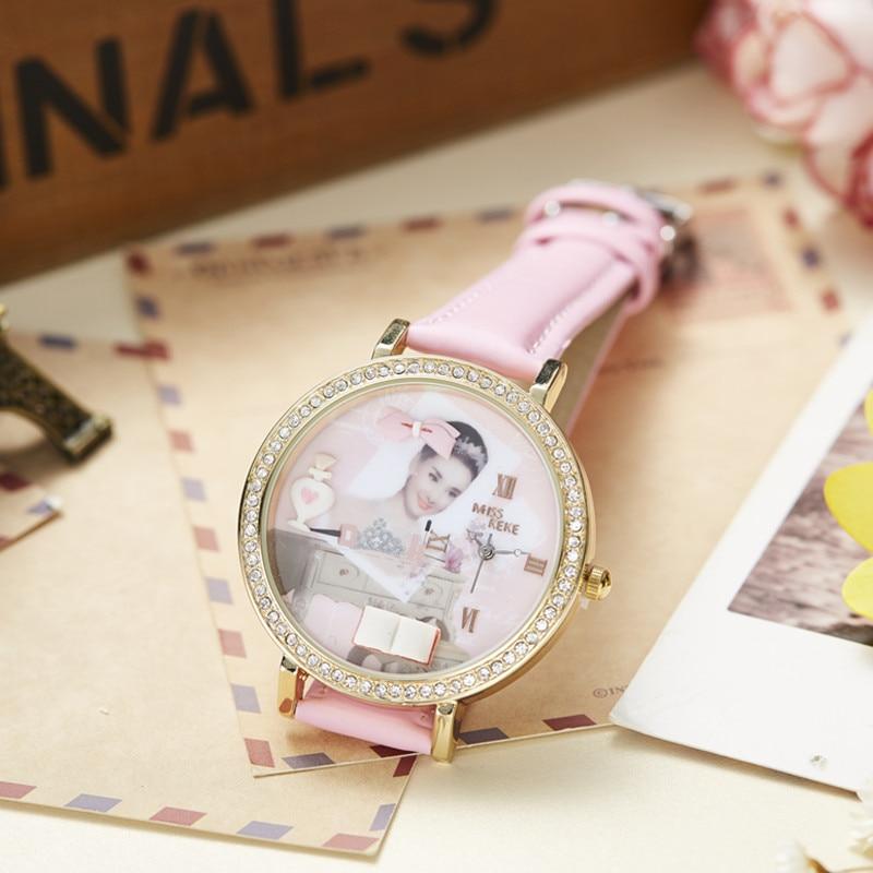 Miss Keke 3d Clay Cute Audrey Hepburn Theepot Strass Horloges Vintage - Dameshorloges - Foto 4