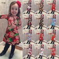 New Funny Christmas Costume Party Kid Girls Wear Penguin/Bell/Socks Santa Clause Prints Happy Girls New Year Dress Christmas