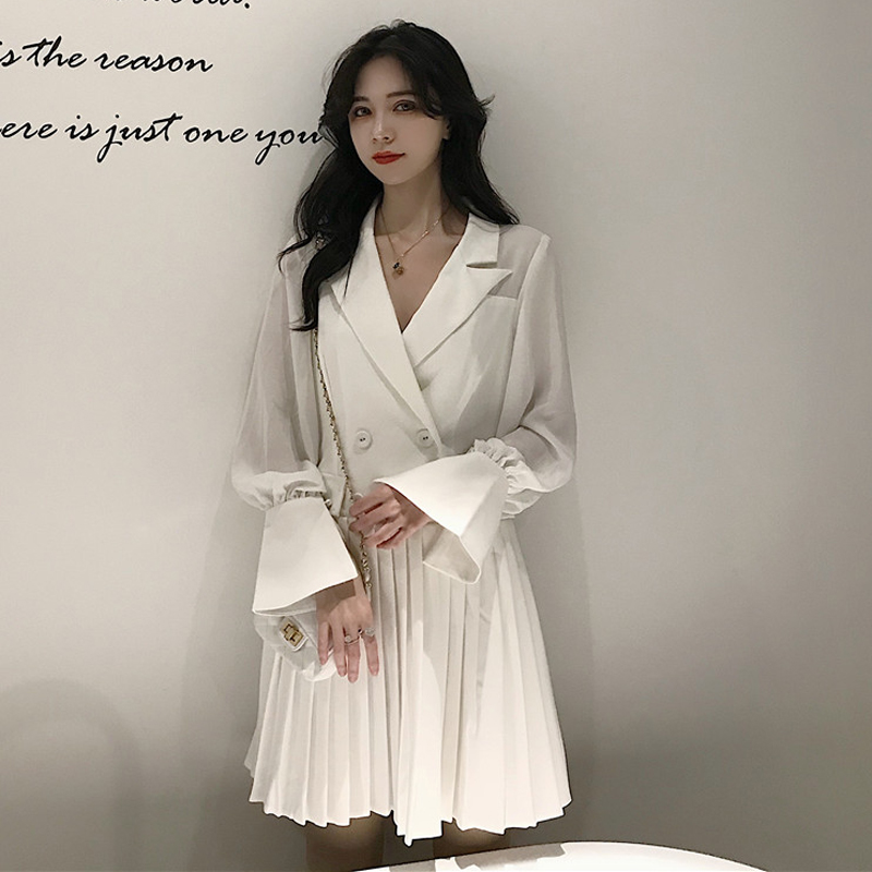 New 2019 fashion Stylish Women pleated Long Blazer women blazers and jackets