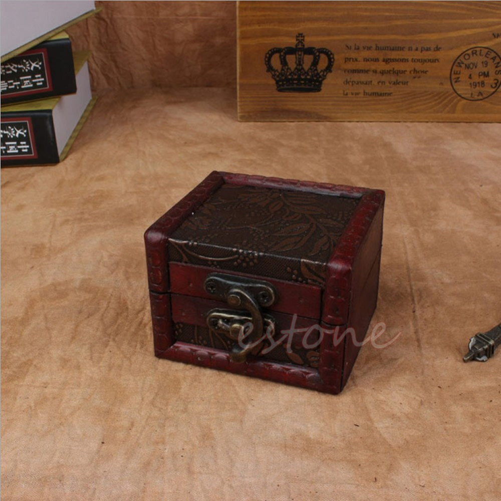 Vintage Small Wooden Lock Jewelry Holder Storage Necklace Bracelet Gift Box Case ...