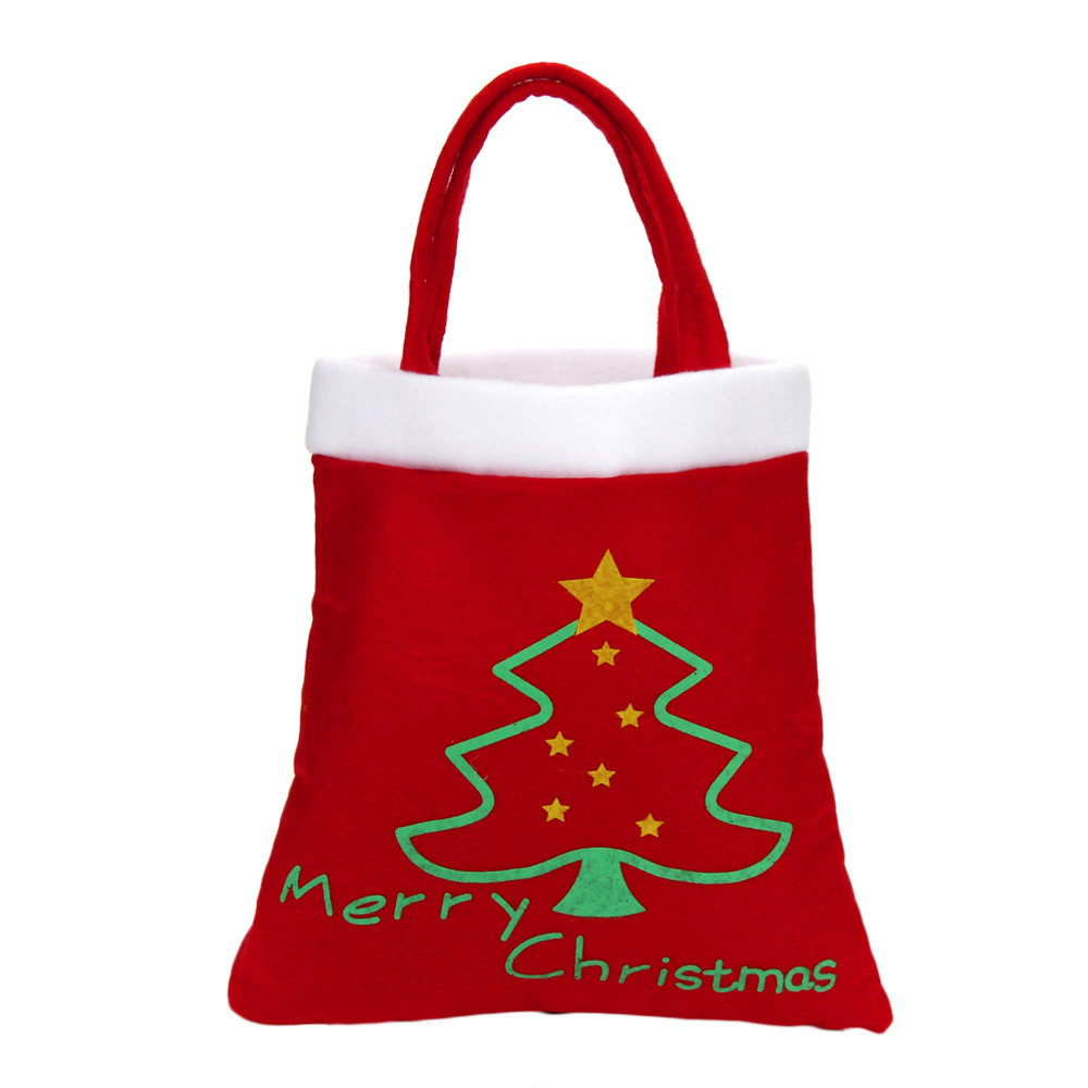 Lunch Bag For Kids Portable Thermal Insulated Christmas Festival Gifts Candy Bag Trees Print Red Women Food Bag